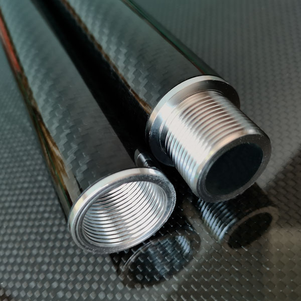 product image: Carbon round tube wound, 3k-TW (Ø 30 x 28) with threaded inserts